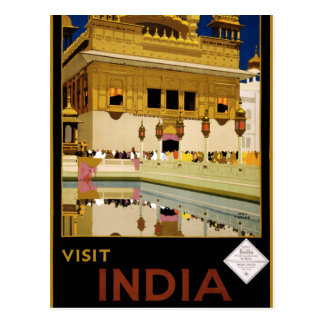 Vintage Visit India Golden Temple Travel Postcard