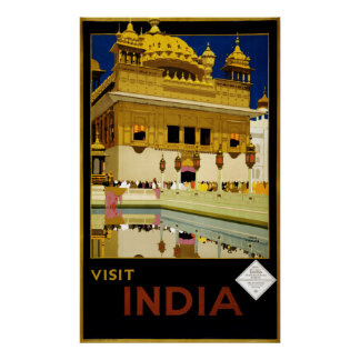Vintage Visit India Golden Temple Travel Poster
