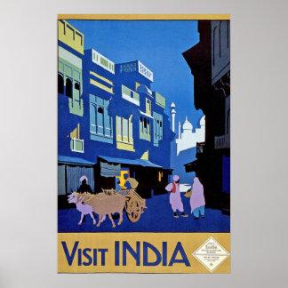 Vintage Visit India Travel Poster Print