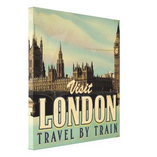 Vintage Visit London poster Gallery Wrap Canvas