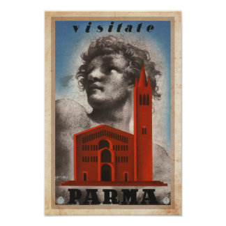 Vintage Visit Parma, Italy Travel Advert Poster