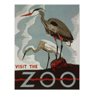 Vintage visit the zoo poster with bird crane