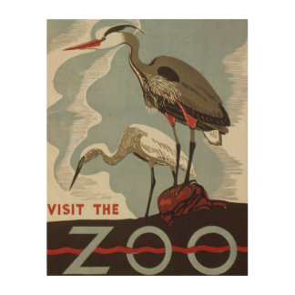 Vintage visit the zoo poster with bird crane wood canvases