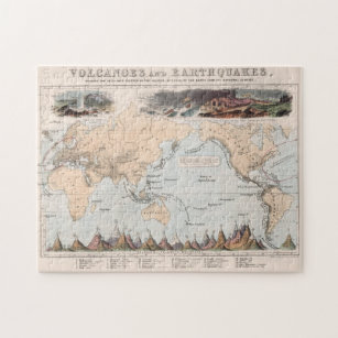 Vintage Volcano and Earthquake World Map (1852) Jigsaw Puzzle
