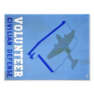 Vintage Volunteer Civillian Defense WPA Poster Art Photo