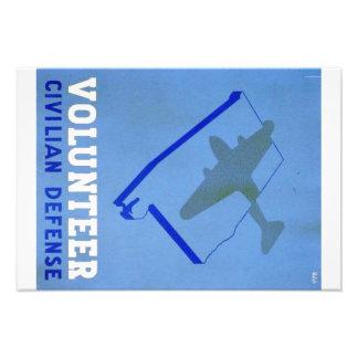 Vintage Volunteer Civillian Defense WPA Poster Photo