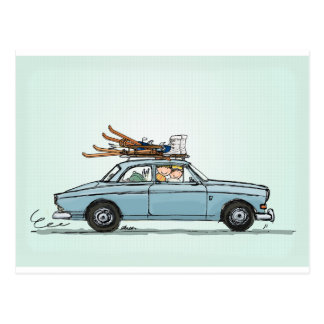 Vintage Volvo 122s Amazon Postcard