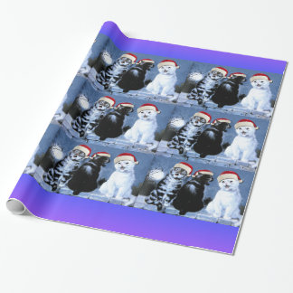 Vintage Wain Christmas Santa Cats Choir Wrapping Paper