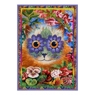 Vintage Wain Funky Flower Cat Poster Print