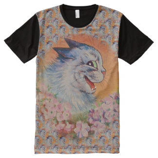Vintage Wain Pink Flowers Tabby Cat Art All-Over Print T-Shirt