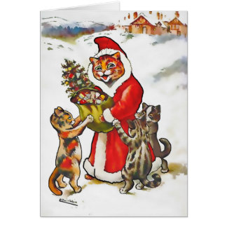 Vintage Wain Santa Claws Cat Kitten Christmas Card