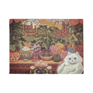 Vintage Wain White Botanist Flower Cat Doormat