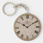 Vintage Wall Clock Basic Round Button Key Ring