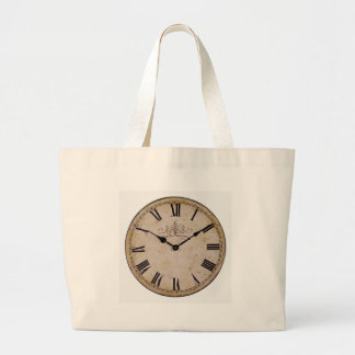 Vintage Wall Clock Jumbo Tote Bag