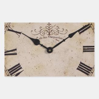 Vintage Wall Clock Rectangular Sticker