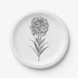 Vintage Wall flower etching paper plate 7 Inch Paper Plate