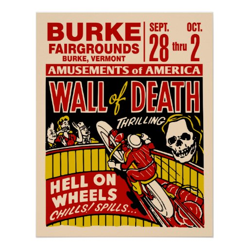 Vintage Wall Of Death Motorcycle Poster
