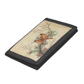 Vintage wallet with birds on flowering tree branch