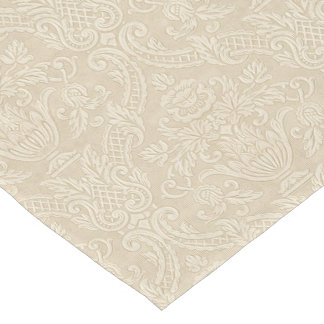 Vintage Wallpaper Beige Floral Elegant Damask Short Table Runner