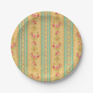 Vintage wallpaper look paper plates 7 inch paper plate