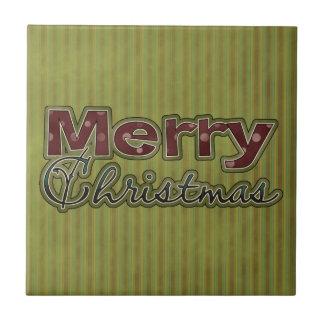 Vintage Wallpaper Merry Christmas Ceramic Tile