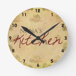 Vintage Wallpaper Nana's Kitchen Wall Clock
