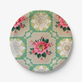 Vintage wallpaper paper plates floral 7 inch paper plate