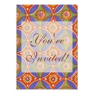 "Vintage wallpaper pattern antique design 4.5"" x 6.25"" invitation card"