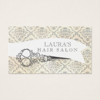 Vintage Wallpaper Scissors Hair Salon Business Business Card