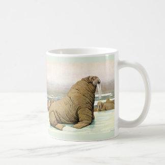 Vintage Walrus on Iceberg in Arctic, Wild Animals Coffee Mug