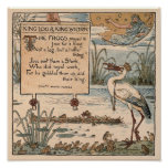 Vintage Walter Crane: King log & king stork small Poster
