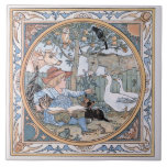 Vintage Walter Crane: The child, the farm animals Large Square Tile