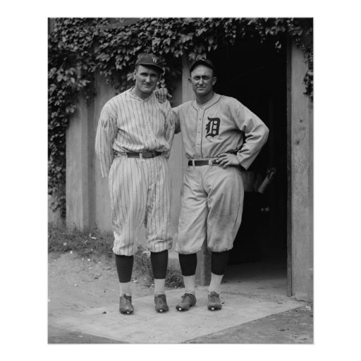 Vintage Walter Johnson and Ty Cobb Baseball Poster