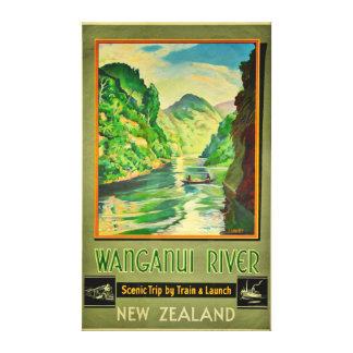 Vintage Wanganui River New Zealand Scenic Travel Canvas Print