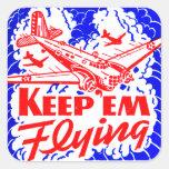 Vintage War Bonds Matchbook Keep Em' Flying Plane Square Sticker