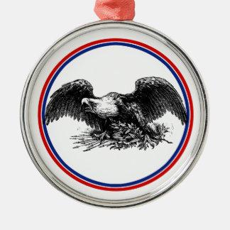 Vintage War Eagle Silver-Colored Round Decoration