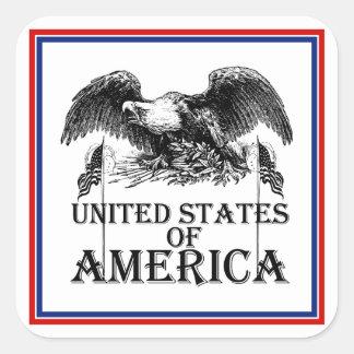Vintage War Eagle Square Sticker