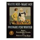 VINTAGE WAR EFFORT POSTER - WASTE NOT-WANT NOT