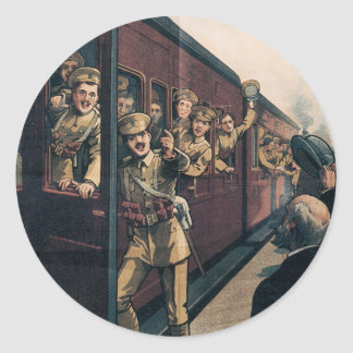 Vintage War Poster stickers - Enlist Train