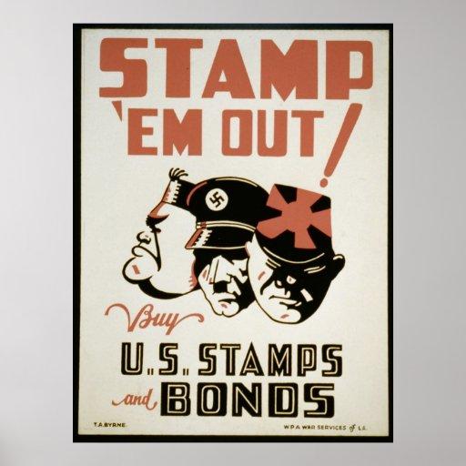 Vintage War Poster U.S. Stamps and Bonds Poster