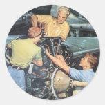 Vintage War Poster - War workers Round Sticker