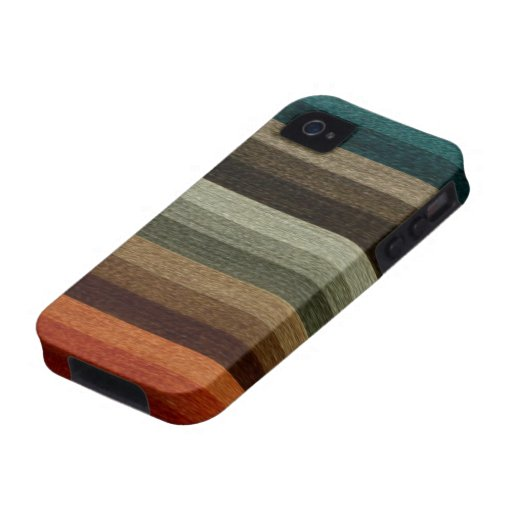 Vintage Warm Autumn Striped Pattern, Earth Tones iPhone 4 Cover
