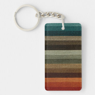 Vintage Warm Autumn Striped Pattern, Earth Tones Double-Sided Rectangular Acrylic Key Ring