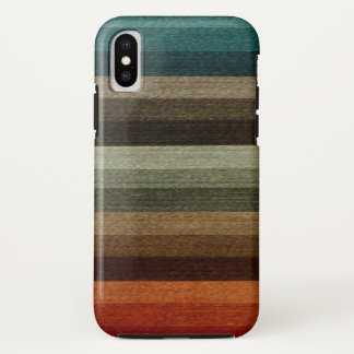 Vintage Warm Autumn Striped Pattern, Earth Tones iPhone X Case