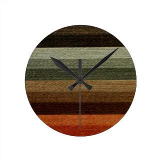Vintage Warm Autumn Striped Pattern, Earth Tones Round Clock
