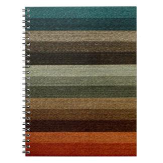 Vintage Warm Autumn Striped Pattern, Earth Tones Spiral Notebook
