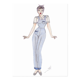 Vintage  wartime fashion art - 40's pinup postcard