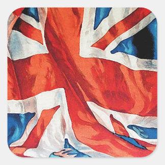 Vintage Wartime Wavy Union Jack British Flag Square Sticker