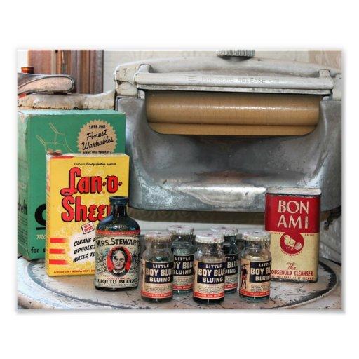 Vintage Washing Machine and Washing Goods Photo
