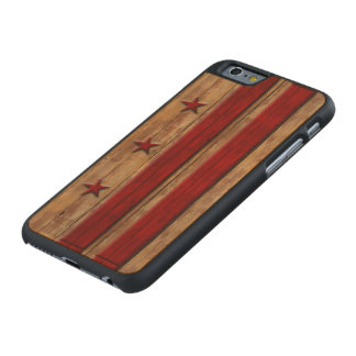 Vintage Washington D.C. Flag Distressed Carved Maple iPhone 6 Case